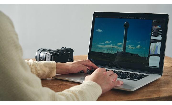 Bild von der Bearbeitung mit Imaging Edge auf dem PC