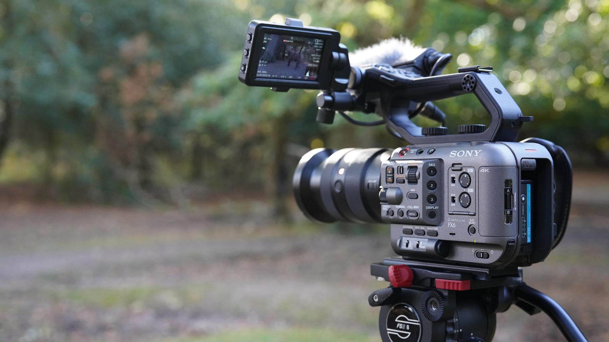 sony fx6 on a tripod with 24-70 GM lens attached