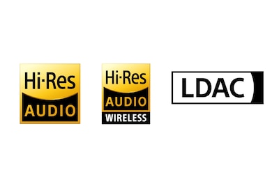 Logos für Hi-Res Audio, Hi-Res Audio Wireless und LDAC