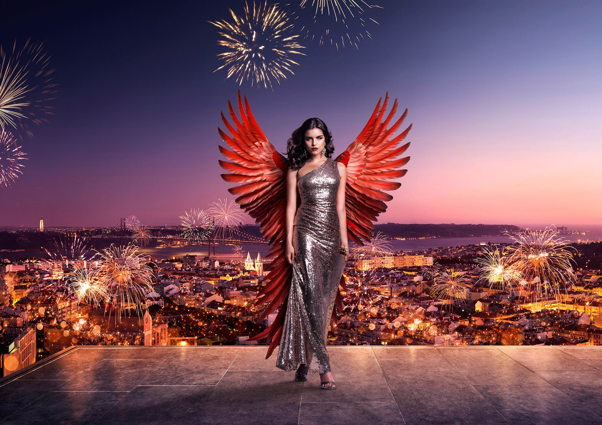 enton-thatcher-sony-alpha-9-model-with-angel-wings-stands-atop-a-building-with-lisbon-cityscape-behind